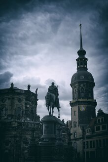 Germany, Saxony, Dresden, view to court church and Equestrian statue of King John - EL001152