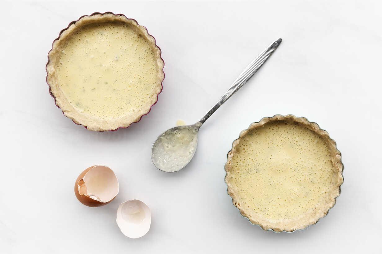 Buckwheat Carrot Tarts Before Baking Buckwheat Dough And Egg Coconut Milk Mixture In Baking Dishes Lactose