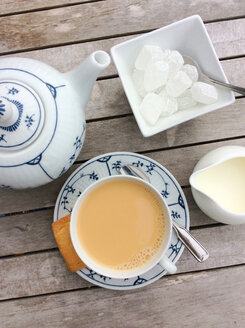 North German tea with cream and lump sugar in traditional porcelain - JAWF000027