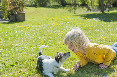 Boy playing with Jack Russel Terrier puppy in garden - MJF001314