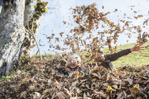 Three playful children in autumn leaf heap - HHF004836