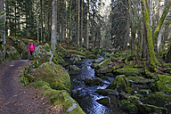 Germany, Bavaria, Lower Bavaria, Bavarian Forest, Waldkirchen, Saussbach gorge, Female hiker - LB000815