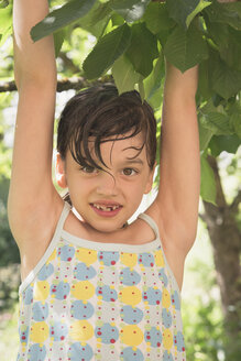 Portrait of smiling little girl climbing on tree - LVF001590