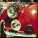 Jaguar, old, classic car, oldtimer, red, english, Strasbourg, France - MS004069