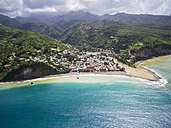Caribbean, St. Lucia, aerial photo of village Canaries - AMF002516