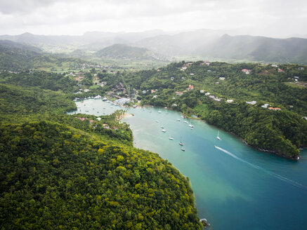 Caribbean, St. Lucia, aerial photo of Marigot Bay - AMF002519
