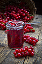 Jam jar of currant jelly and red currants, Ribes rubrum, on wooden table - LVF001611