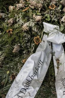Austria, Upper Austria, Linz, Funeral wreath with ribbon - EJW000418
