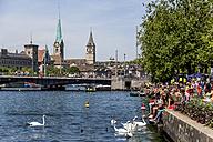 Switzerland, Zurich, view to Limmat River and Lake Zurich - EJWF000438