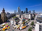 Germany, Hesse, Frankfurt, View to financial district with Commerzbank tower, European Central Bank, Helaba, Taunusturm, Hauptwache and St. Catherine's church - AMF002548