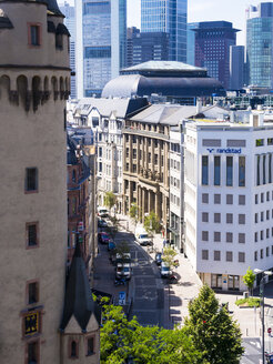 Germany, Hesse, Frankfurt, View to Schiller-Passage, left Eschenheim Tower, Financial district in the background - AMF002556