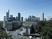 Germany, Hesse, Frankfurt, View to financial district with Commerzbank tower, , Taunusturm, Japan Tower, Helaba, Westend Tower, Deutsche Bank and Opera Tower - AM002557