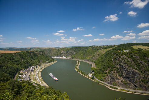 Germany, Rhineland-Palatinate, View to Loreley rock at Middle Rhine river, Upper Middle Rhine Valley - WGF000347
