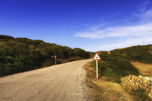 Spain, Balearic Islands, Menorca, Road sign at a road - SMAF000222