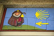 Spain, The Way of St James, Santiago de Compostela, Trail sign - LA001001