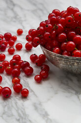 Metal bowl of red currants, Ribes rubrum, on white marble, partial view - LVF001654
