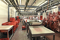 Germany, Saxony-Anhalt, Processing of pork in a slaughterhouse - LY000215