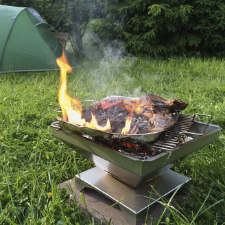Belgium, The Ardennes, burning barbeque, Lamb Chops and sweet peppers - GWF003000