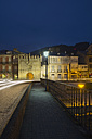 Spain, Galicia, Viveiro, bridge Ponte da Misericordia with view to Porta Carlos V by night - LAF000913