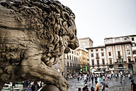 Italy, Tuscany, Florence, view to Piazza della Signoria with part of lion sculpture of Loggia dei Lanzi in the foreground - SBDF001025