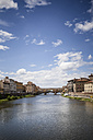 Italy, Tuscany, Florence, view to Arno River with Ponte Vecchio - SBDF001056