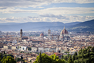 Italy, Tuscany, Florence, city view with Palazzo Vecchio and cathedral Santa Maria del Fiore - SBDF001063