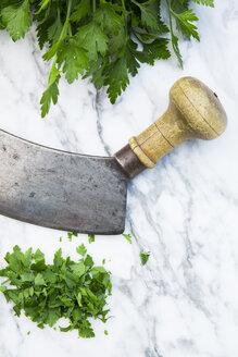 Cut flat leaf parsley and mezzaluna on white marble - LVF001672