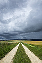 Germany, Constance district, thunderclouds over fields landscape with path in the foreground - ELF001233