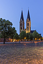 Germany, Saxony-Anhalt, Halberstadt, view to lighted Halberstadt Cathedral at twilight - PVCF000063