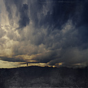 France, Contis-Plage, One person on dune, Dark clouds, Textured effect - DWI000125