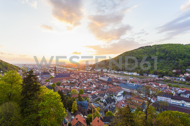 Germany, Baden-Wuerttemberg, Heidelberg, View to Old town and Old bridge against the evening sun - WDF002568