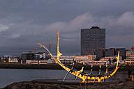 Island, Reykjavik, modern sculpture formed like a viking boat at twilight - FC000371