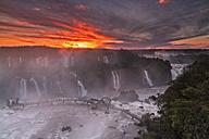South America, Argentina, Brazil, Iguazu National Park, Iguazu Falls at sunset - FOF006644