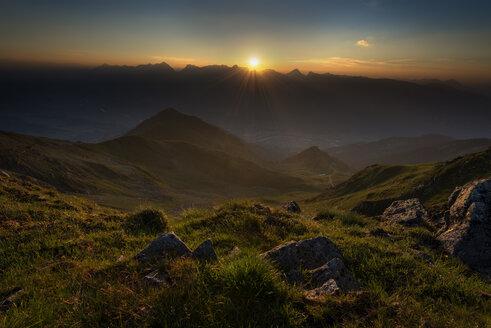 Austria, Tyrol, Schwaz district, View from Kellerjoch to Schwaz at sunset - MKFF000056