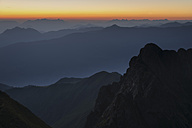 Austria, Tyrol, Schwaz district, View from Kellerjoch to Zillertal valley at sunrise - MKFF000055