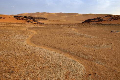 Africa, Algeria, Sahara, Tassili N'Ajjer National Park, Tadrart, Sand dunes in Djerane - ES001313