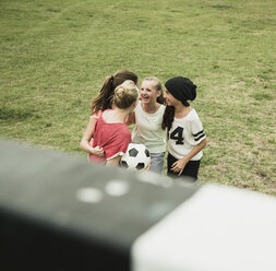 Four female teenage friends having fun on a soccer field, elevated view - UUF001563