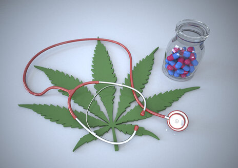 Pills, stethoscope and cannabis leaf, illustration - ALF000186