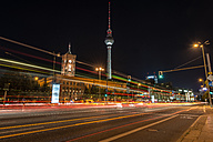 Germany, Berlin, Mitte, Berlin TV Tower and Red Town Hall at Alexanderplatz at night - MKFF000065