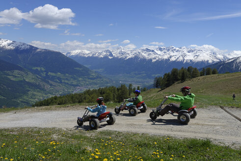 Italy, South Tyrol, Vinschgau, Mountaincarts at the Watles near Mals - LB000909