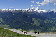 Italy, South Tyrol, Vinschgau, Mountaincarts at the Watles near Mals - LB000933