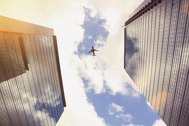 Germany, Hesse, Frankfurt, New high-rise buildings, Aeroplane - ZMF000331