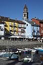 Switzerland, Ticino, Ascona, Harbour, Lago Maggiore, Church Santi Pietro e Paolo - WEF000189