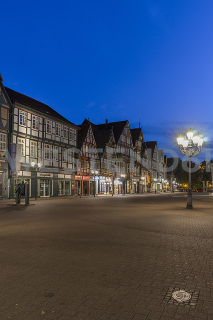 Germany, Lower Saxony, Celle, Half-timbered houses, Blue hour - PVCF000070
