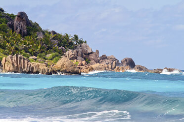 Seychelles, La Digue Island, Rocky coast at Anse Cocos beach - KRPF000743