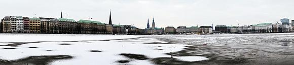 Germany, Hamburg, Panoramic view of Inner Alster Lake in winter - KRPF000962