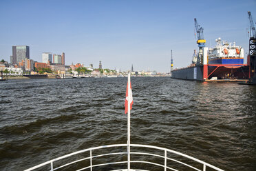 Germany, Hamburg, Port of Hamburg, View from an excursion boat on the Elbe river - KRPF000991