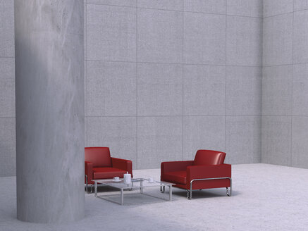 Two red chairs and a couch table in modern business building, 3D Rendering - UW000154