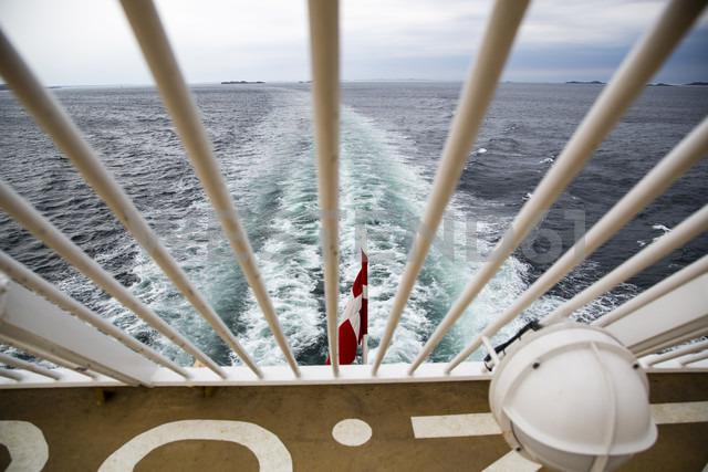 Denmark, Danish flag on ferry on the sea - NGF000130