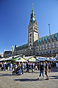 Germany, Hamburg, view to city hall with stands at the townhall square - KRPF000915